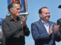 PROMONTORY, UT - MAY 10: Utah U.S. Senators Mitt Romney (2nd L) and Mike Lee (2ndR) , take part in the 150th anniversary of the driving of the Golden Spike on May 10, 2019 in Promontory, Utah. The driving of the Golden Spike completed the Transcontinental Railroad that liked both …