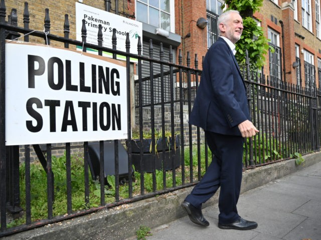 LONDON, UNITED KINGDOM - MAY 23: Labour leader Jeremy Corbyn leaves after voting in the European Elections, at a polling station at Pakeman primary school in Holloway on May 23, 2019 in London, United Kingdom. Polls are open for the European Parliament elections. Voters will choose 73 MEPs in 12 …