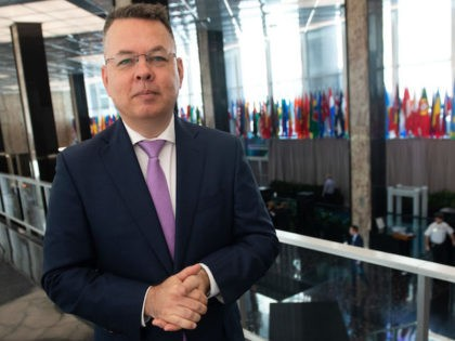 Pastor Andrew Brunson, who was detained in Turkey for two years before being released in 2018, speaks with AFP during an interview at the State Department in Washington, DC, on July 17, 2019. - A US pastor freed by Turkey after an intense campaign by Washington has called for greater …