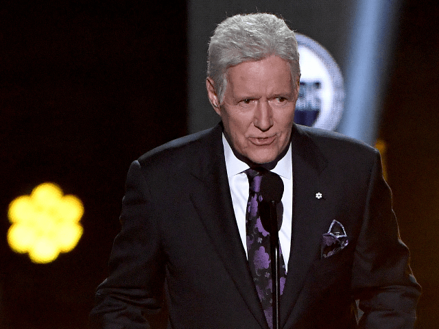 """""""Jeopardy!"""" host Alex Trebek presents the Hart Memorial Trophy during the 2019 NHL Awards at the Mandalay Bay Events Center on June 19, 2019 in Las Vegas, Nevada. (Photo by Ethan Miller/Getty Images)"""