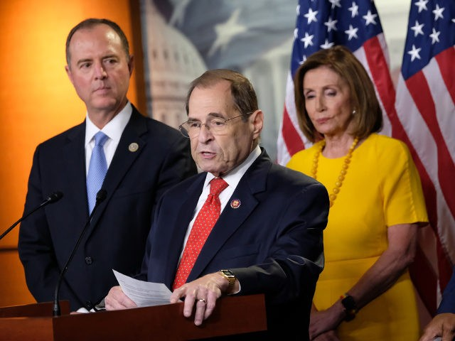 WASHINGTON, DC - JULY 24: Judiciary Committee Chair Jerold Nadler (D-NY), speaks alongside Intelligence Committee Chair Adam Schiff, House Speaker Nancy Pelosi, and Committee Chairman Rep. Elijah Cummings (D-MD), at a news conference after former Special Counsel Robert Mueller's testimony on July 24, 2019 in Washington, DC. Former Special Counsel …