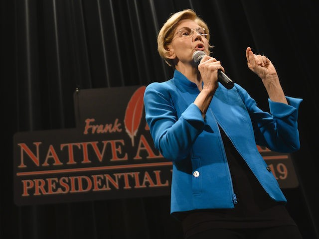 SIOUX CITY, IA - AUGUST 19: Democratic presidential candidate Sen. Elizabeth Warren (D-MA) answers questions from a panel member at the Frank LaMere Native American Presidential Forum on August 19, 2019 in Sioux City, Iowa. Warren was introduced by Rep. Deb Haaland (D-NM) who she has co-sponsored legislation with to …