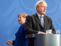 BERLIN, GERMANY - AUGUST 21: British Prime Minister Boris Johnson and German Chancellor Angela Merkel attend a joint press conference following Johnson's arrival at the Chancellery on August 21, 2019 in Berlin, Germany. Johnson is meeting with Merkel in Berlin and French President Emmanuel Macron in Paris. The United Kingdom …