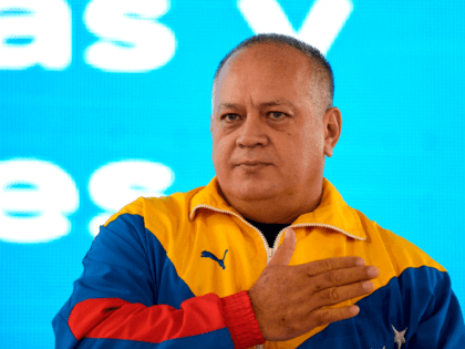 The president of the National Constituent Assembly, Diosdado Cabello, gestures during the 1st International Meeting of Workers in solidarity with the Venezuelan Government and people at the Alba Hotel in Caracas, Venezuela, on August 29, 2019. - The Russian ambassador to Venezuela, Vladimir Zaemskiy, accused the United States of obstructing …
