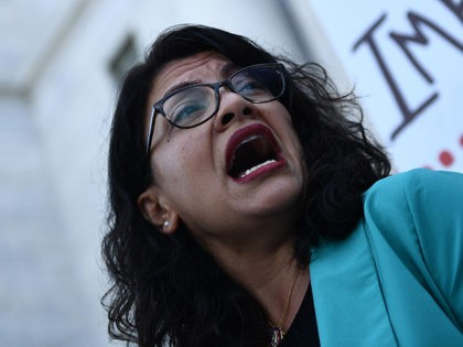 Rep. Rashida Tlaib D-MI joins activists asking for impeachment of US President Trump as they gather on Capitol Hill on September 23, 2019 in Washington,DC. - The demonstration and press event was to demand the House of Representatives to take urgent and immediate action towards impeaching US President Donald Trump. …
