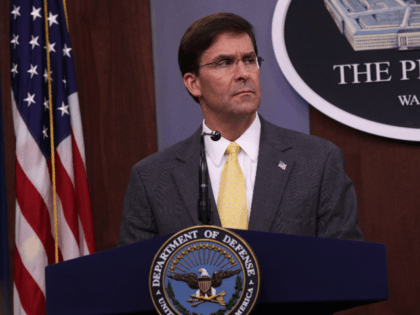 U.S. Secretary of Defense Mark Esper holds a media briefing at the Pentagon August 28, 2019 in Arlington, Virginia. Secretary Esper participated in his first media briefing since he took office in July, 2019. (Photo by Alex Wong/Getty Images)
