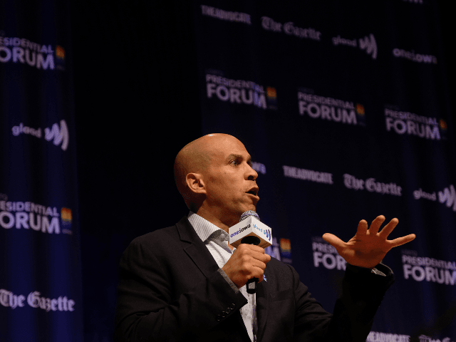 Democratic presidential candidate, Sen. Cory Booker (D-NJ) speaks at the Presidential Candidate Forum on LGBTQ Issues at the Sinclair Auditorium at Coe College on September 20, 2019 in Cedar Rapids, Iowa. (Photo by Alex Wroblewski/Getty Images for GLAAD)