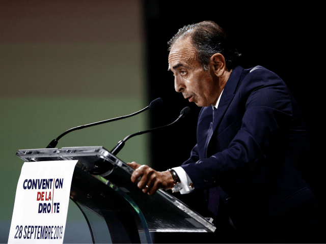 "French Political columnists Eric Zemmour delivers a speech during the ""Convention de la Droite"" in Paris on September 28, 2019. (Photo by Sameer Al-Doumy / AFP) (Photo credit should read SAMEER AL-DOUMY/AFP/Getty Images)"