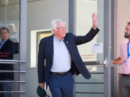 Democratic presidential candidate, Sen. Bernie Sanders (I-VT) waves as he walks towards the stage during a campaign event at Plymouth State University on September 29, 2019 in Plymouth, New Hampshire. (Photo by Scott Eisen/Getty Images)