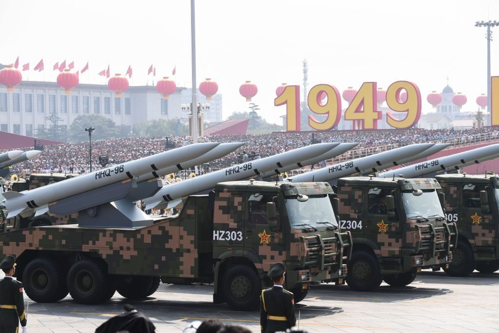 Military vehicles carrying HHQ-9B surface-to-air missiles participate in a military parade at Tiananmen Square in Beijing on October 1, 2019, to mark the 70th anniversary of the founding of the Peoples Republic of China. (Photo by GREG BAKER / AFP) (Photo credit should read GREG BAKER/AFP/Getty Images)