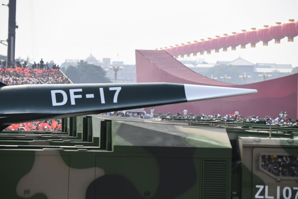A DF-17 missile is presented during a military parade at Tiananmen Square in Beijing on October 1, 2019, to mark the 70th anniversary of the founding of the Peoples Republic of China. (Photo by GREG BAKER / AFP) (Photo credit should read GREG BAKER/AFP/Getty Images)