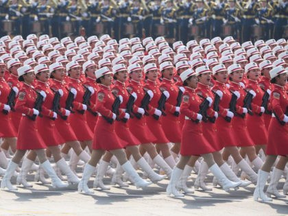 Chinese troops march during a military parade in Tiananmen Square in Beijing on October 1, 2019, to mark the 70th anniversary of the founding of the People's Republic of China. (Photo by GREG BAKER / AFP) (Photo credit should read GREG BAKER/AFP/Getty Images)
