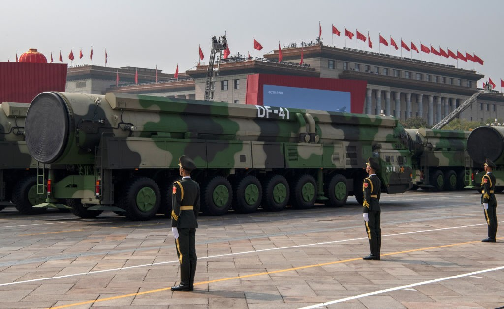 BEIJING, CHINA - OCTOBER 01: The Chinese military's new DF-41 intercontinental ballistic missiles, that can reportedly reach the United States, are seen at a parade to celebrate the 70th Anniversary of the founding of the People's Republic of China in 1949, at Tiananmen Square on October 1, 2019 in Beijing, China. (Photo by Kevin Frayer/Getty Images)