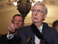 U.S. Senate Majority Leader Sen. Mitch McConnell (R-KY) speaks as Sen. John Barrasso (R-WY) looks on during a news briefing after the weekly Senate Republican policy luncheon September 10, 2019 at the U.S. Capitol in Washington, DC. Senate GOPs held the weekly luncheon to discuss Republican agenda. (Photo by Alex …