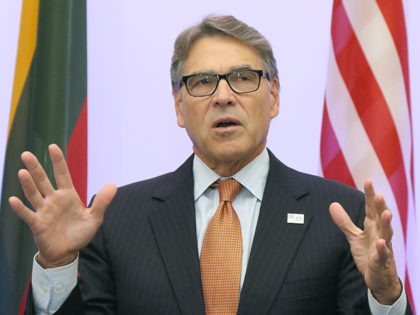 US Secretary of Energy Rick Perry delivers a statement after signing an agreement with Estonian, Lithuanian and Latvian counterparts on strengthening energy cooperation between the US and the Baltic States during a meeting in Vilnius, Lithuania, on October 6, 2019. - The United States and Baltic states on October 6, …
