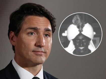 (INSET: Blackface photo of Trudeau) Canadian Prime Minister and Liberal Party leader Justin Trudeau listens to questions during a press conference after the Federal Leaders Debate at the Canadian Museum of History in Gatineau, Quebec on October 7, 2019. (Photo by Dave Chan / AFP) (Photo by DAVE CHAN/AFP via Getty …