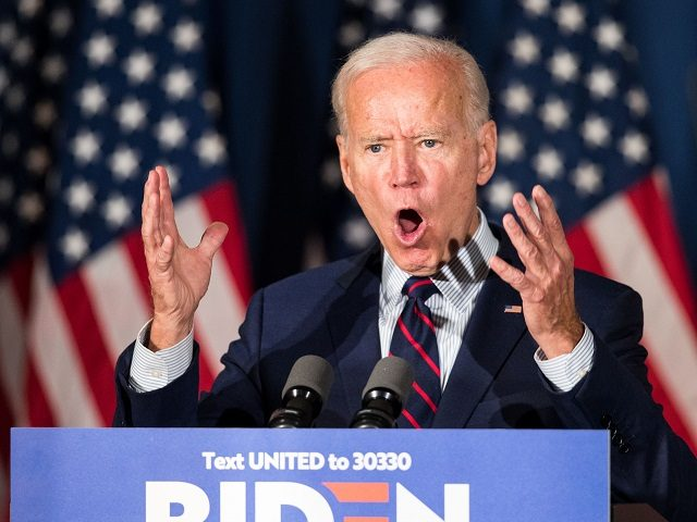 ROCHESTER, NH - OCTOBER 09: Democratic presidential candidate, former Vice President Joe Biden speaks during a campaign event on October 9, 2019 in Rochester, New Hampshire. For the first time, Biden has publicly called for President Trump to be impeached. (Photo by Scott Eisen/Getty Images)
