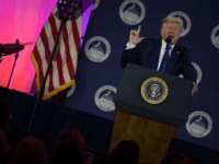US President Donald Trump speaks at the Values Voter Summit at the Omni Shoreham Hotel on October 12, 2019 in Washington, DC. (Photo by Eric BARADAT / AFP) (Photo by ERIC BARADAT/AFP via Getty Images)