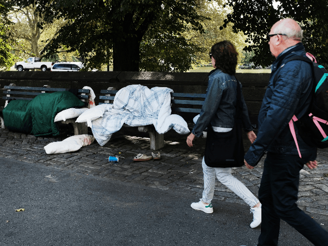 Items belonging to the homeless sit along the edge of Central Park's north end on September 18, 2019 in New York City. The Central Park Conservancy announced on Wednesday a $110 million restoration plan at the north end that will include a brand new pool and rink to replace the …