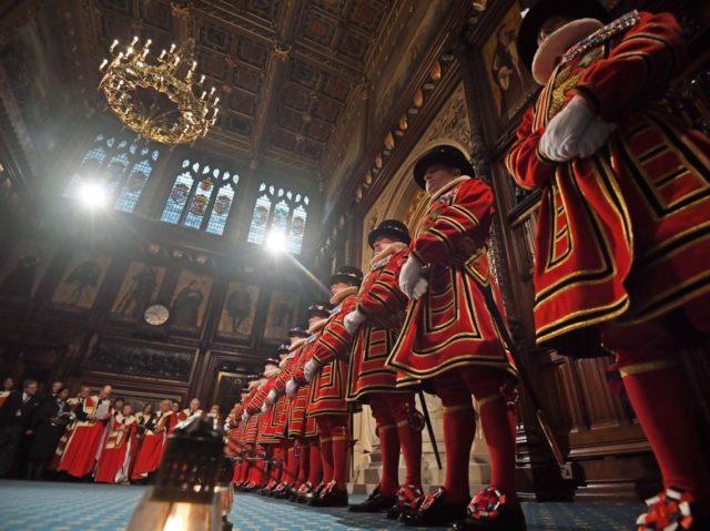 Yeomen of the Guard during the ceremonial search of the Palace of Westminster ahead of the State Opening of Parliament in the Houses of Parliament in London on October 14, 2019. - The State Opening of Parliament is where Queen Elizabeth II performs her ceremonial duty of informing parliament about …