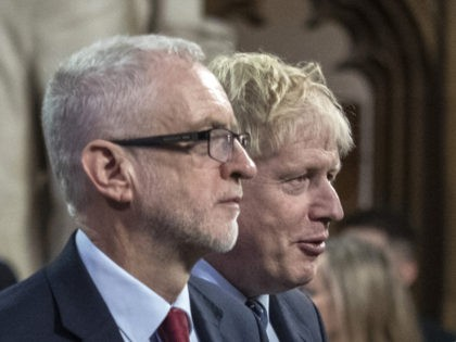 LONDON, ENGLAND - OCTOBER 14: Prime Minister, Boris Johnson and Labour leader, Jeremy Corbyn attend the State Opening of Parliament at the Palace of Westminster on October 14, 2019 in London, England. The Queen's speech is expected to announce plans to end the free movement of EU citizens to the …