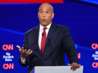Democratic presidential hopeful New Jersey Senator Cory Booker speaks during the fourth Democratic primary debate of the 2020 presidential campaign season co-hosted by The New York Times and CNN at Otterbein University in Westerville, Ohio on October 15, 2019. (Photo by SAUL LOEB / AFP) (Photo by SAUL LOEB/AFP via …