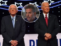 (INSET: Hunter Biden) Democratic presidential hopefuls former US Vice President Joe Biden and Vermont Senator Bernie Sanders arrive onstage for the fourth Democratic primary debate of the 2020 presidential campaign season co-hosted by The New York Times and CNN at Otterbein University in Westerville, Ohio on October 15, 2019. (Photo …