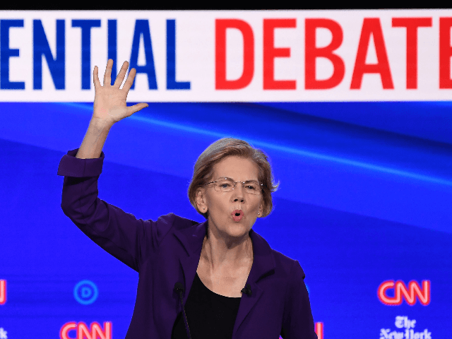 Democratic presidential hopeful Massachusetts Senator Elizabeth Warren speaks during the fourth Democratic primary debate of the 2020 presidential campaign season co-hosted by The New York Times and CNN at Otterbein University in Westerville, Ohio on October 15, 2019. (Photo by SAUL LOEB / AFP) (Photo by SAUL LOEB/AFP via Getty …