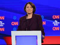 Democratic presidential hopeful Minnesota Senator Amy Klobuchar looks on during the fourth Democratic primary debate of the 2020 presidential campaign season co-hosted by The New York Times and CNN at Otterbein University in Westerville, Ohio on October 15, 2019. (Photo by SAUL LOEB / AFP) (Photo by SAUL LOEB/AFP via …