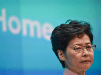 Hong Kong's Chief Executive Carrie Lam attends a press conference in Hong Kong on October 16, 2019, after she tried twice to begin her annual policy address inside the city's legislature. - Hong Kong's embattled leader abandoned a State of the Union-style speech on October 16 after she was heckled …