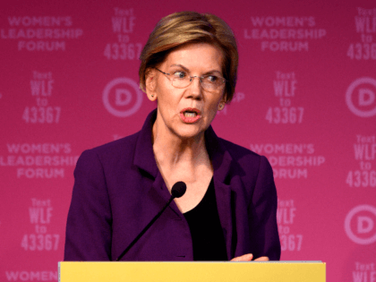"Democratic Presidential hopeful Massachusetts Senator Elizabeth Warren speaks at a fundraiser at the ""Women's Leadership Forum"" in Washington, DC on October 17, 2019. (Photo by Andrew CABALLERO-REYNOLDS / AFP) (Photo by ANDREW CABALLERO-REYNOLDS/AFP via Getty Images)"