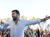 Leader of Italy's far-right League party, Matteo Salvini gestures as he prepares to address supporters during a rally of Italy's far-right League party, conservative Brothers of Italy party and Forza Italia party against the government on October 19, 2019 in Rome. - Italy's strongman Matteo Salvini holds a key rally …
