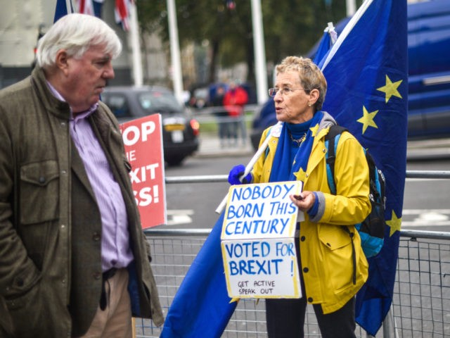 LONDON, ENGLAND - OCTOBER 23: Pro-EU protesters outside the Houses of Parliament on October 23, 2019 in London, England. MPs voted against the government rushing through their UK withdrawal bill last night, Tuesday. (Photo by Peter Summers/Getty Images)