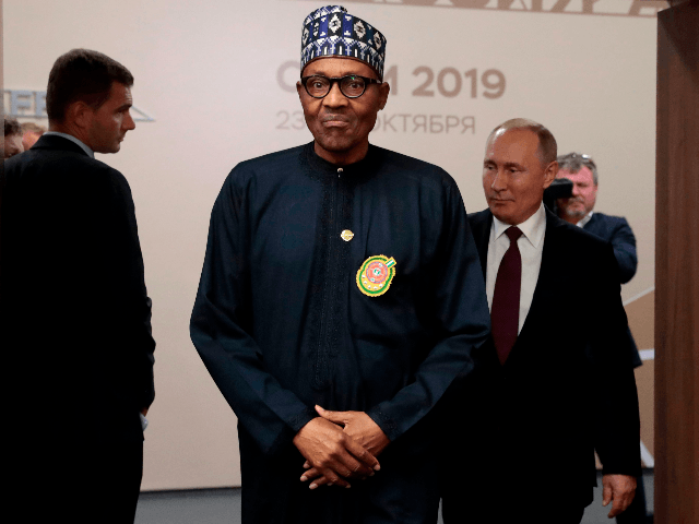 Russian President Vladimir Putin meets with Nigeria's President Muhammadu Buhari on the sidelines of the 2019 Russia-Africa Summit in Sochi on October 23, 2019. (Photo by Sergei CHIRIKOV / POOL / AFP) (Photo by SERGEI CHIRIKOV/POOL/AFP via Getty Images)