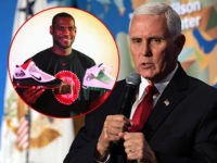 (INSET: NBA star LeBron James holding Nike shoes) US Vice President Mike Pence speaks on the future of the US relationship with China at the Wilson Center's inaugural Frederic V. Malek Public Service Leadership lecture, in Washington, DC, on October 24, 2019. (Photo by NICHOLAS KAMM / AFP) (Photo by …