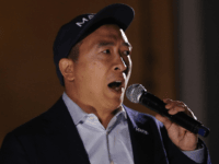 Democratic presidential candidate, entrepreneur Andrew Yang speaks at a campaign rally on September 30, 2019 in Los Angeles, California. Yang is the son of Taiwanese immigrants and was born in upstate New York. (Photo by Mario Tama/Getty Images)