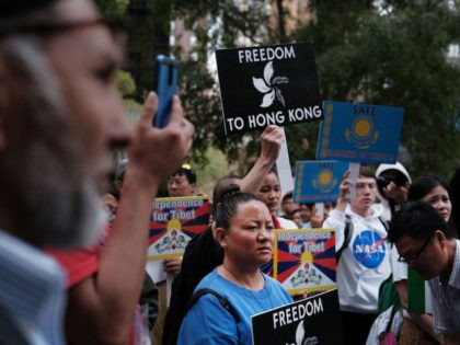 NEW YORK, NEW YORK - OCTOBER 01: People protest against the Chinese regime in front of the United Nations on October 01, 2019 in New York City. Individuals from numerous countries and ethnic groups, including Mongolia, Tibet and Kazakstan, held a demonstration on the day that China is celebrating the …