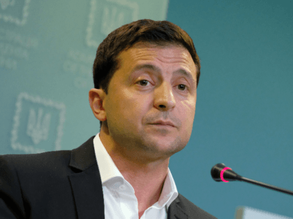 Ukrainian President Volodymyr Zelensky speaks to the media on October 1, 2019 in Kiev, Ukraine. Ukraine has been at the core of a political storm in U.S. politics since the release of a whistleblower's complaint suggesting U.S. President Donald Trump, at the expense of U.S. foreign policy, pressured Ukraine to …