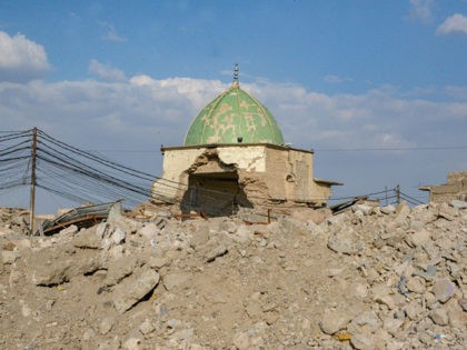 A picture taken on October 27, 2019 shows Mosul's heavily damaged Al-Nuri Mosque in the former base of the Islamic State (IS) group in northern Iraq, where Jihadist leader Abu Bakr al-Baghdadi used to address followers before the group was chased out of the area in 2017. - Baghdadi, the …
