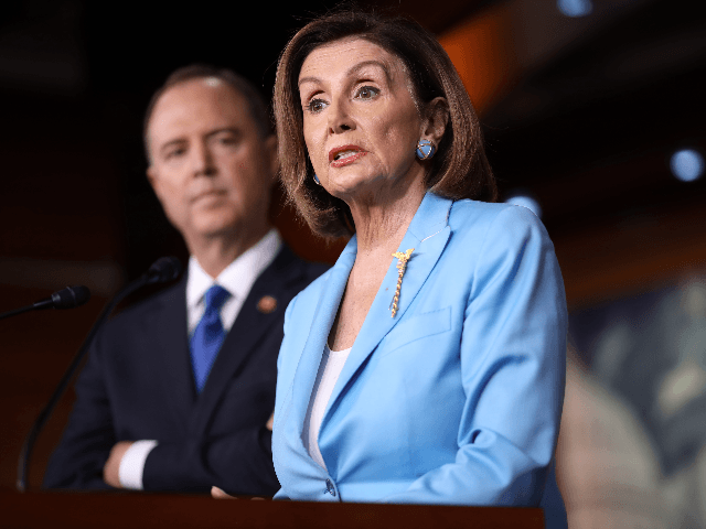 Speaker of the House Nancy Pelosi (D-CA) answers questions with House Select Committee on Intelligence Chairman Rep. Adam Shiff (D-CA) at the U.S. Capitol October 2, 2019 in Washington, DC. Pelosi and Schiff updated members of the media on the latest developments related to the impeachment inquiry focused on U.S …