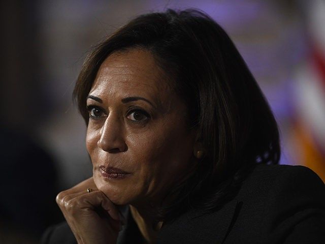 PHILADELPHIA, PA - OCTOBER 28: Democratic presidential candidate, U.S. Sen. Kamala Harris (D-CA) speaks during a town hall at the Eastern State Penitentiary on October 28, 2019 in Philadelphia, Pennsylvania. Formerly incarcerated individuals, their families, and others involved with the criminal justice system hosted the town hall with three 2020 …