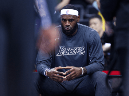 LeBron James #23 of the Los Angeles Lakers looks on before the match against the Brooklyn Nets during a preseason game as part of 2019 NBA Global Games China at Shenzhen Universiade Center on October 12, 2019 in Shenzhen, Guangdong, China. (Photo by Zhong Zhi/Getty Images)