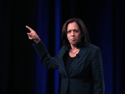 Democratic presidential candidate Sen. Kamala Harris (D-CA) speaks to guests at the United Food and Commercial Workers' (UFCW) 2020 presidential candidate forum on October 13, 2019 in Altoona, Iowa. With 1.3 million members the UFCW is America's largest private sector union. The 2020 Iowa Democratic caucuses will take place on …