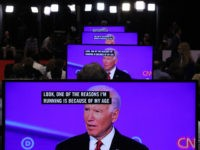 WESTERVILLE, OHIO - OCTOBER 15: Former Vice President Joe Biden appears on television screens in the Media Center during the Democratic Presidential Debate at Otterbein University on October 15, 2019 in Westerville, Ohio. A record 12 presidential hopefuls are participating in the debate hosted by CNN and The New York …