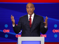 Sen. Cory Booker (D-NJ) speaks during the Democratic Presidential Debate at Otterbein University on October 15, 2019 in Westerville, Ohio. A record 12 presidential hopefuls are participating in the debate hosted by CNN and The New York Times. (Photo by Win McNamee/Getty Images)