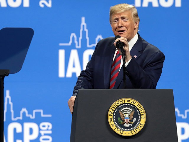 CHICAGO, ILLINOIS - OCTOBER 28: U.S. President Donald Trump addresses the International Association of Chiefs of Police (IACP) convention on October 28, 2019 in Chicago, Illinois. Trump is expected to attend a fundraiser hosted by Chicago Cubs co-owner and Trump Victory Committee Finance Chairman Todd Ricketts at Trump tower following …