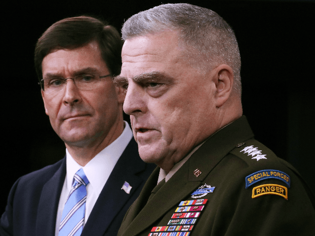 U.S. Defense Secretary Mark Esper (L) and Chairman of the Joint Chiefs of Staff Gen. Mark Milley hold a news conference at the Pentagon the day after it was announced that Abu Bakr al-Baghdadi was killed in a U.S. raid in Syria October 28, 2019 in Arlington, Virginia. The leader …