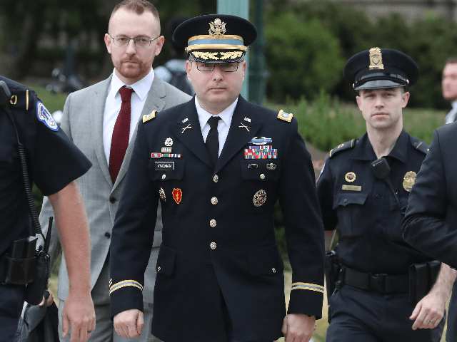 Lt. Col. Alexander Vindman, (C), director for European Affairs at the National Security Council, arrives at the U.S. Capitol on October 29, 2019 in Washington, DCon Vindman will appear at a closed-door deposition, as part of the impeachment inquiry against President Trump, led by the House Intelligence, House Foreign Affairs …