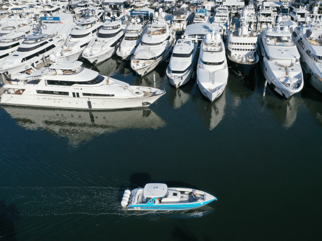 FORT LAUDERDALE, FLORIDA - OCTOBER 29: An aerial view from a drone shows boats that are being prepared for display at the 60th annual Fort Lauderdale International Boat Show on October 29, 2019 in Fort Lauderdale, Florida. The boat show starts tomorrow and is held over five days and features …