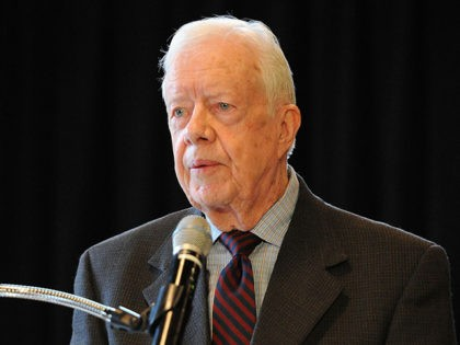 """NEW YORK, NY - JANUARY 12: Former President Jimmy Carter attends """"Countdown To Zero: Defeating Disease"""" preview press conference at American Museum of Natural History on January 12, 2015 in New York City. (Photo by Andrew Toth/Getty Images)"""